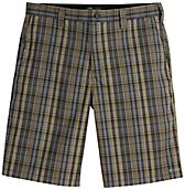 "Performance Flex 11"" Relaxed Fit Flat Front Plaid Short"