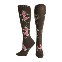Ariat Ladies Coffee Roses Knee Socks Best Price