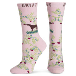 Ariat Ladies Pink Apple Orchard Ankle Socks Best Price