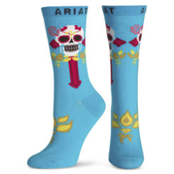 Ariat Ladies Turquoise Skull and Cross Ankle Socks Best Price