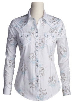 Ariat Ladies Karly Western Shirt-SIZE: XLarge COLOR: White Best Price