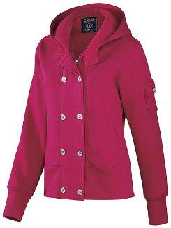 AT Lds Dbl Button Hoodie Pink Best Price