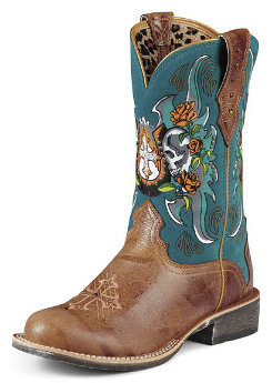 AT Lds Rodeobaby Tan/Teal Relic Wstn Boot Best Price
