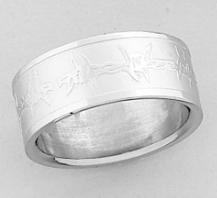 AWST Wide Laser Engraved Barbed Wire Ring
