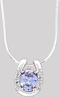 AWST Sterling Silver Gem Stone Horseshoe Necklace
