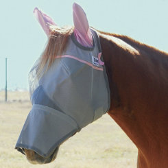 Cashel Crusader Fly Mask with Long Nose and Ears Pink Trim Best Price