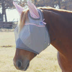 Cashel Crusader Standard Fly Mask with Ears Pink Trim