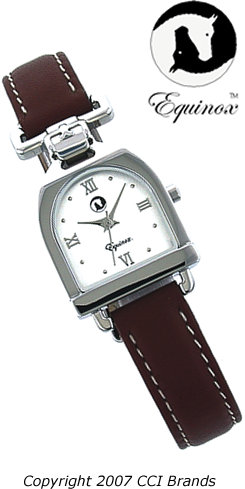 CCI Equinox Watch Stirrup Silver Case White Face with Tan Band Best Price