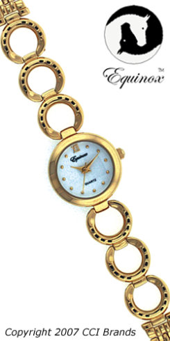 CCI Equinox Watch Horseshoe White Face Gold Band Best Price
