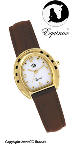 CCI Equinox Watch Gold Horseshoe White Face Brown Band