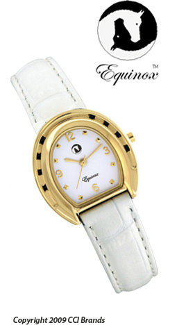 CCI Equinox Watch Gold Horseshoe White Face White Band