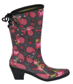 dav Ladies Flair Paisley Rose Rain Boots<font color=#000080> Color:  Slate  Size:  8</font> Best Price