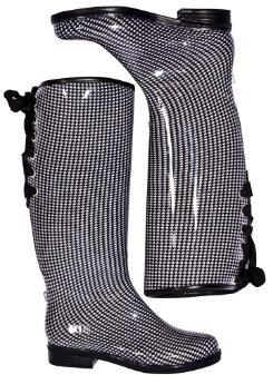 dav Ladies Black/White Houndstooth Victoria Boots Best Price
