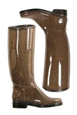 dav Ladies Black/Khaki English Houndstooth Rain Boots Best Price