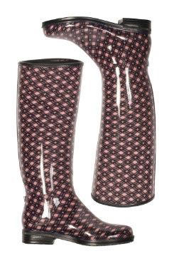 dav Ladies Blush Plaid English Rain Boots Best Price