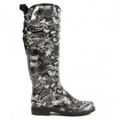 dav Ladies Black Paisley Victoria Rain Boots Best Price