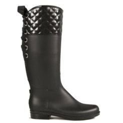 dav Ladies Black Quilted Victoria Rain Boots Best Price