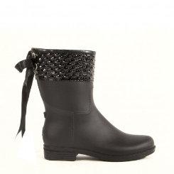 dav Ladies Black Mid Pyramid Rain Boot Best Price