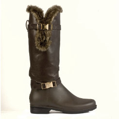 dav Ladies  Brown Fur Cuff Rain Boots Best Price