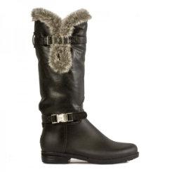 dav Ladies Black Fur Cuff Rain Boots Best Price