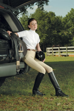 Devon-Aire Ladies Clarino Pull On Knee Patch Riding Breeches Best Price