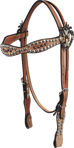Martin Saddler Gypsy Cowgirl Browband Headstlall with Heart Cross Conchos Best Price