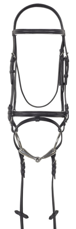Camelot White Lined Dressage Bridle with Anti Slip Web Reins