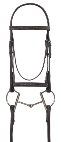 Camelot Raised Braided Snaffle Bridle with Laced Reins