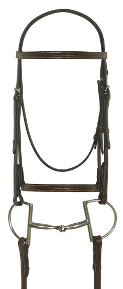 Camelot Gold Plain Raised Bridle with Laced Reins