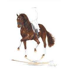 Brandy Dressage Art Print by Jan Kunster Best Price
