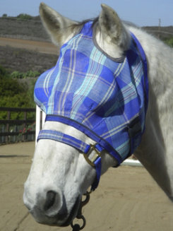 Kensington Bug Eye with Web Trim Fly Mask<font color=#000080>- SIZE:  Medium  COLOR:  Plum Ice Plaid</font> Best Price