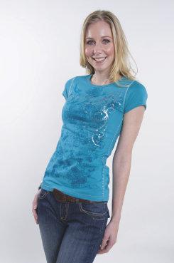 Cowgirl Up Jersey Burnout Tee Shirt<font color=#000080>- SIZE:  Large  COLOR:  Aqua</font> Best Price