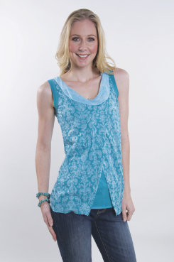 Cowgirl Up Jersey Burnout Sleeveless Top<font color=#000080>- SIZE:  Large  COLOR:  Aqua</font> Best Price