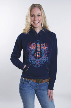 Cowgirl Up  Fleece Hoodie <font color=#000080>- SIZE:  Large  COLOR:  Navy</font> Best Price