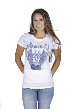 Adiktd Ladies Cotton Jersey Tee Shirt <font color=#000080>- SIZE:  Large  COLOR:  White</font> Best Price
