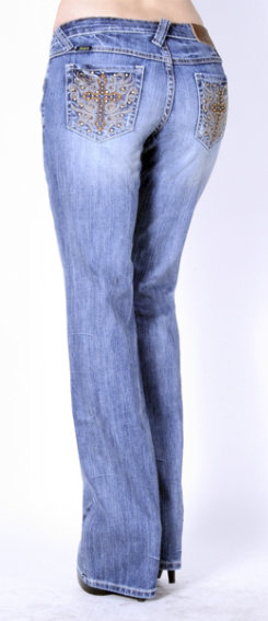 Adkitd Ladies Embossed and Studded Cross Jeans<font color=#000080>- SIZE:  6 Regular  COLOR:  Lt Stonewash</font> Best Price