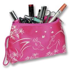 Kelley Pink Satin Horse Cosmetic Bag Best Price