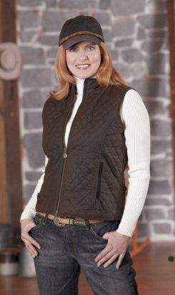 Outback Trading Ladies Quilted Oilskin Vest Best Price