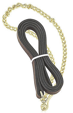Perri's Leather Collection Leather Lead with Fine 30in Chain