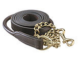Perri's Leather Collection Rolled Leather Lead with Solid Brass Chain