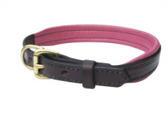 Perri's Soft Padded Leather Dog Collar with Custom Nameplate Best Price