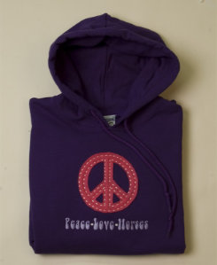 Stirrups Adult  Peace Sign Applique Hoodie Best Price