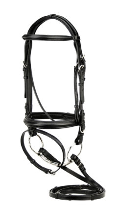 Silverleaf Plain Raised Padded Dressage Bridle with Flash/Reins