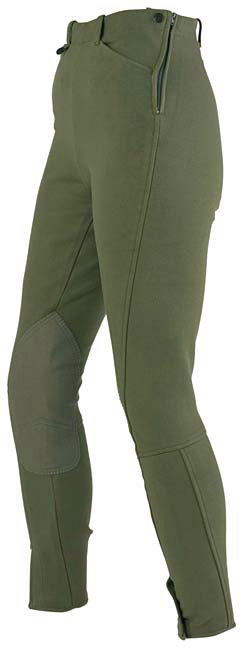 On Course Ladies Cotton Naturals Side Zip  Riding  Breeches      <font color=#000080>- SIZE:  36 Regular  COLOR:  Green Beige</font> Best Price
