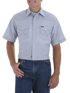 Wrangler Mens Short Sleeve Denim Chambray Blend Shirt Best Price