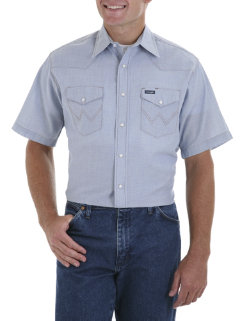 Wrangler Mens Big and Tall Short Sleeve Chambray Blend Shirt Best Price