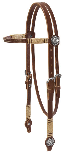 Weaver Browband Headstall with Conchos and Rawhide