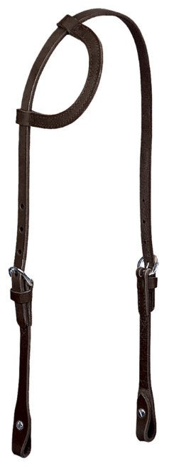 Weaver Black Leather Flat Sliding Ear Headstall