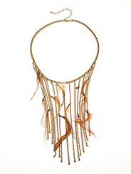 Fringe-n-Feather Strand Necklace