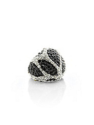 Black & White rhinestone ring